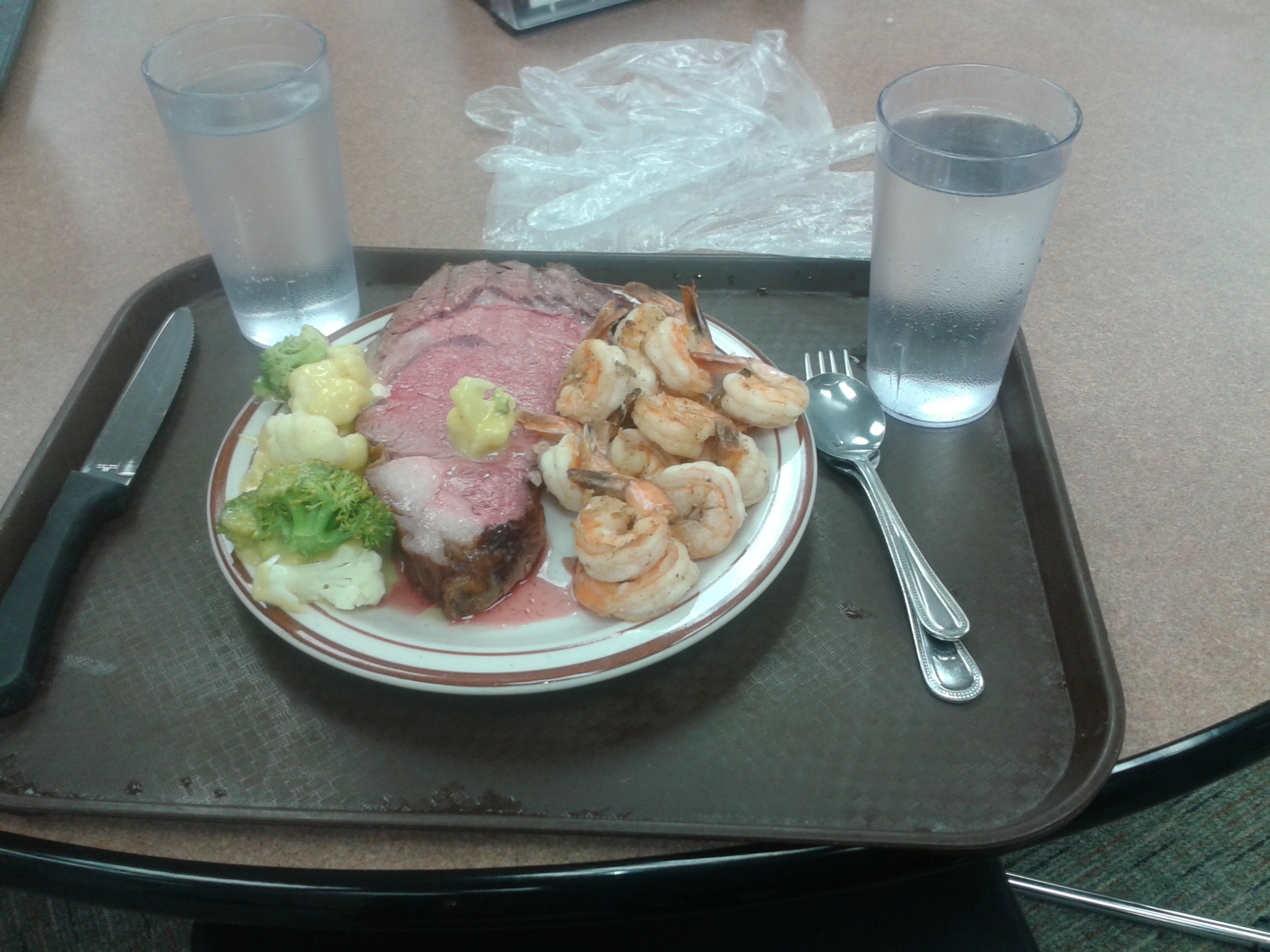 Prime rib and shrimp. We get this every Sunday.